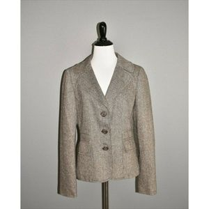 ANN TAYLOR Brown Wool Tweed Structured Blazer